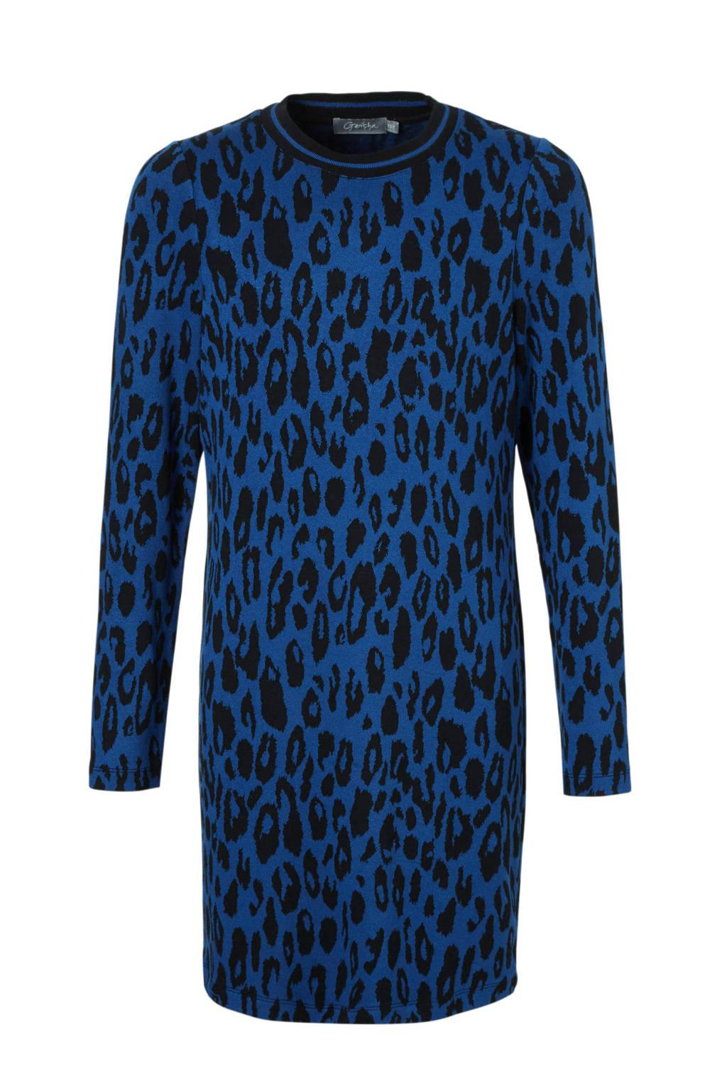 Geisha jurk met panterprint donkerblauw, Donkerblauw/zwart