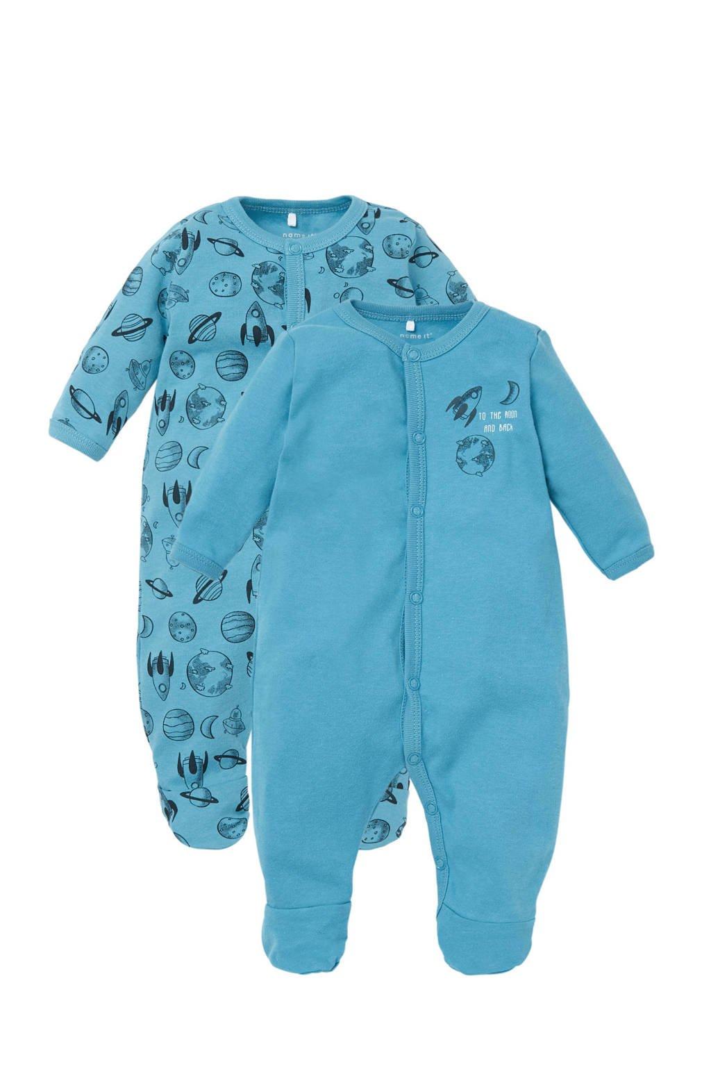 name it BABY   newborn pyjama - set van 2, Turquoise/zwart