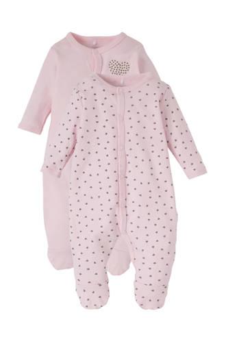 BABY newborn pyjama met hartjes - set van 2