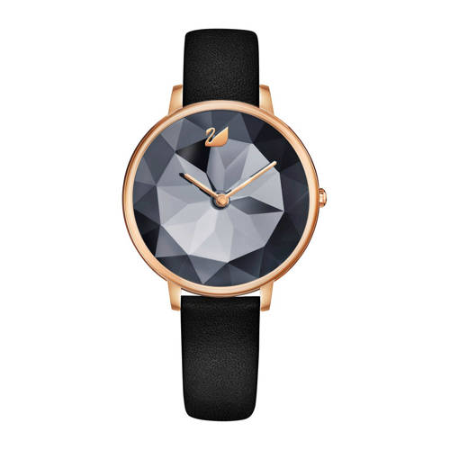 Swarovski Crystal Lake Watch, Leather strap, Black, Rose gold tone Gray Rose gold-plated
