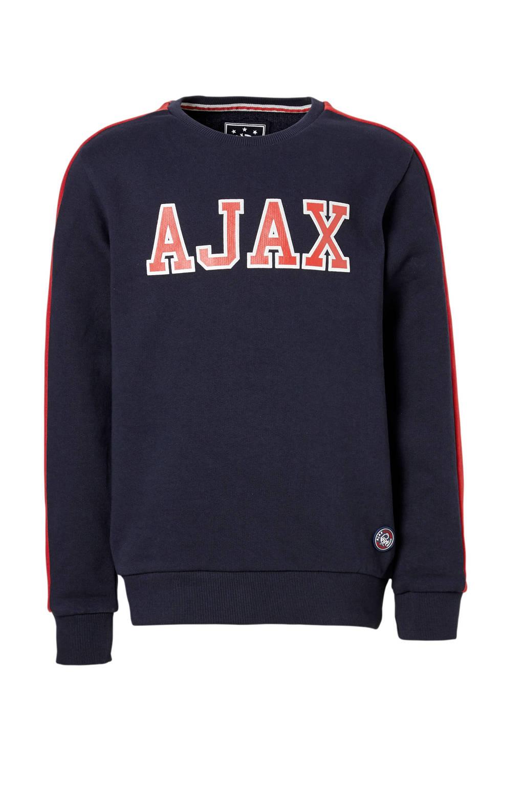 Ajax sweater Rowen blauw, Donkerblauw/rood/wit