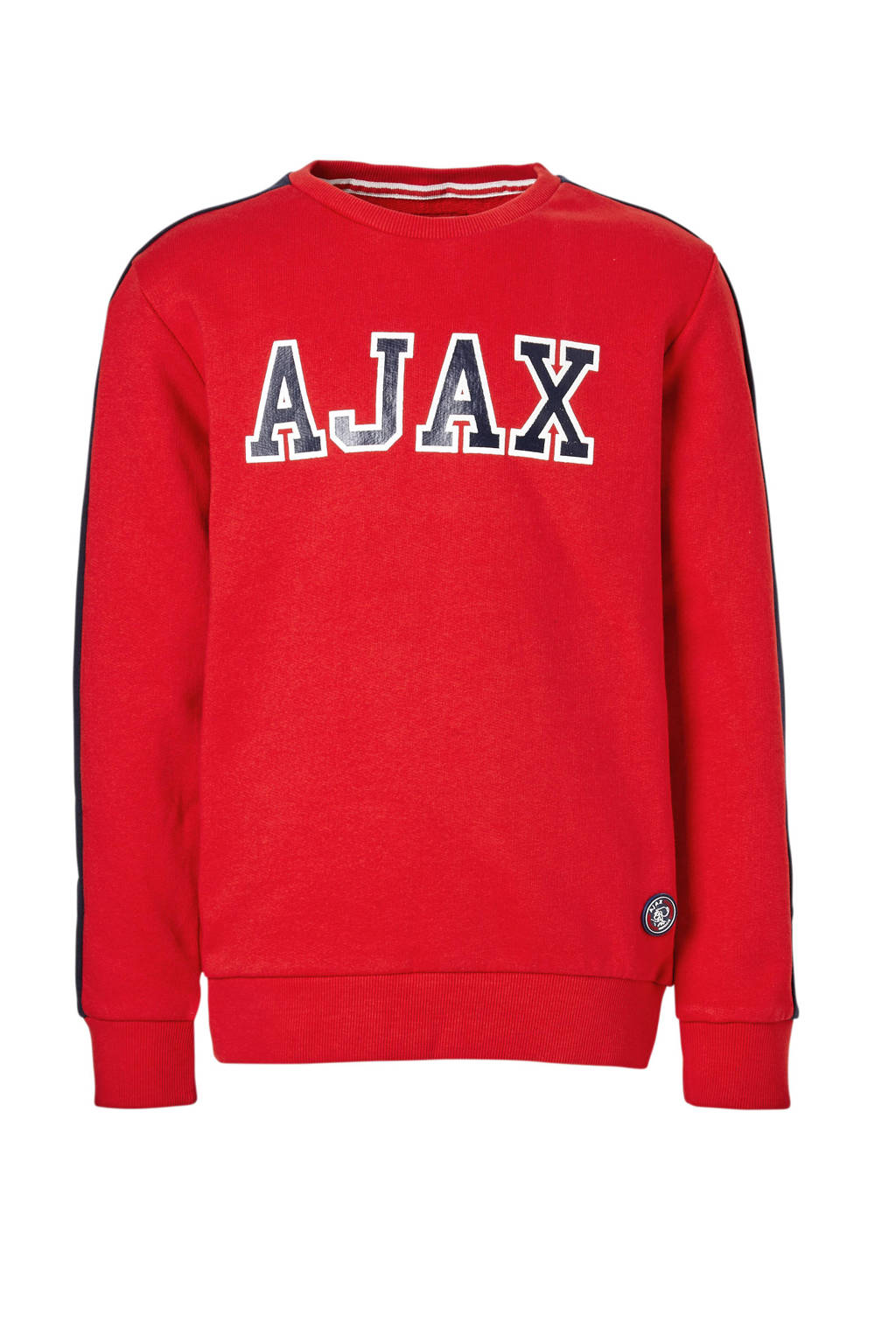Ajax sweater Rowen rood, Rood/donkerblauw/wit