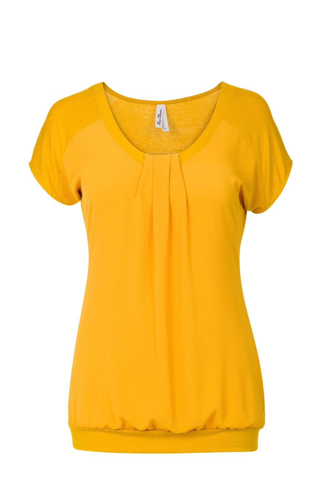 Miss Etam Regulier top met plooidetails geel, Geel