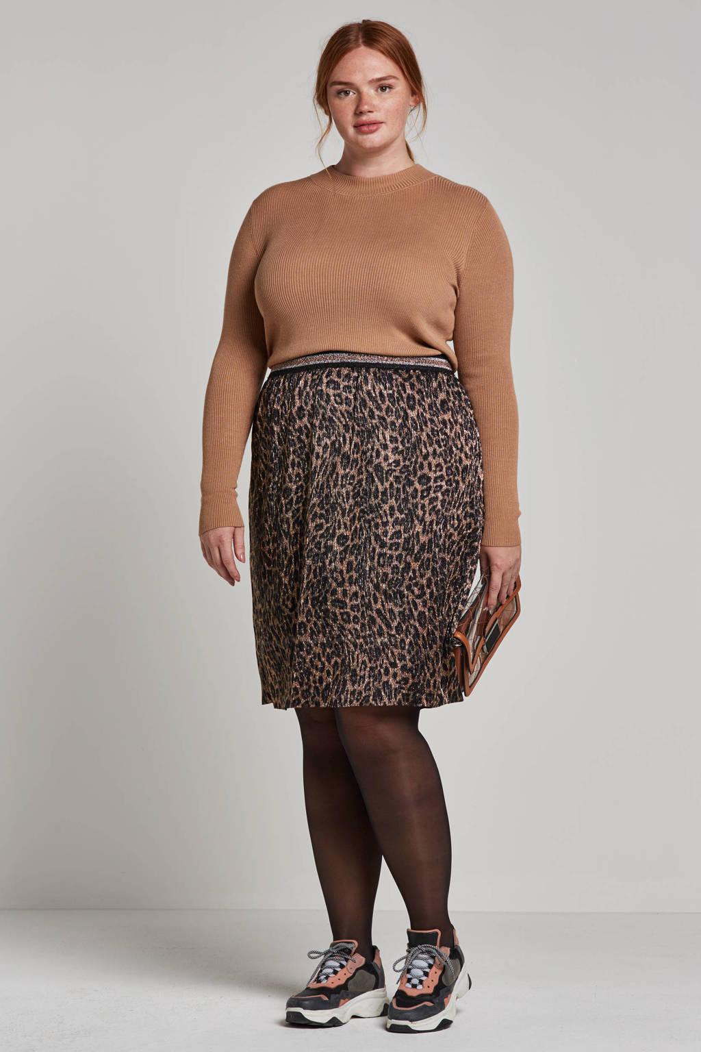 JUNAROSE glitter rok met luipaardprint, Bruin/zwart