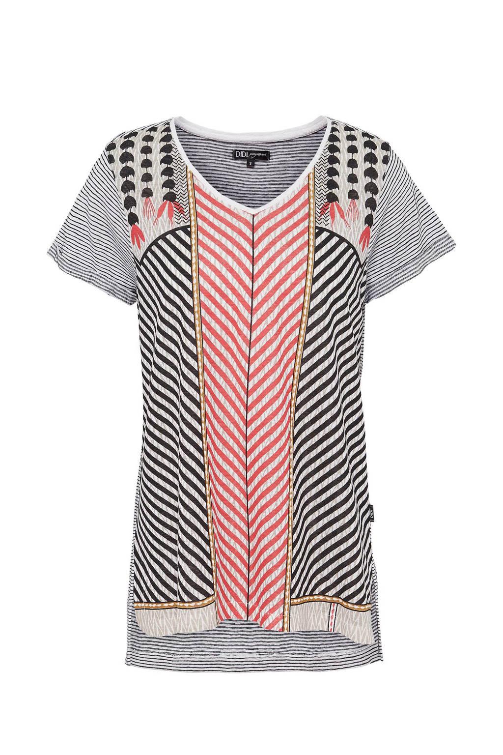 Didi gestreept T-shirt, Zwart/rood/ecru