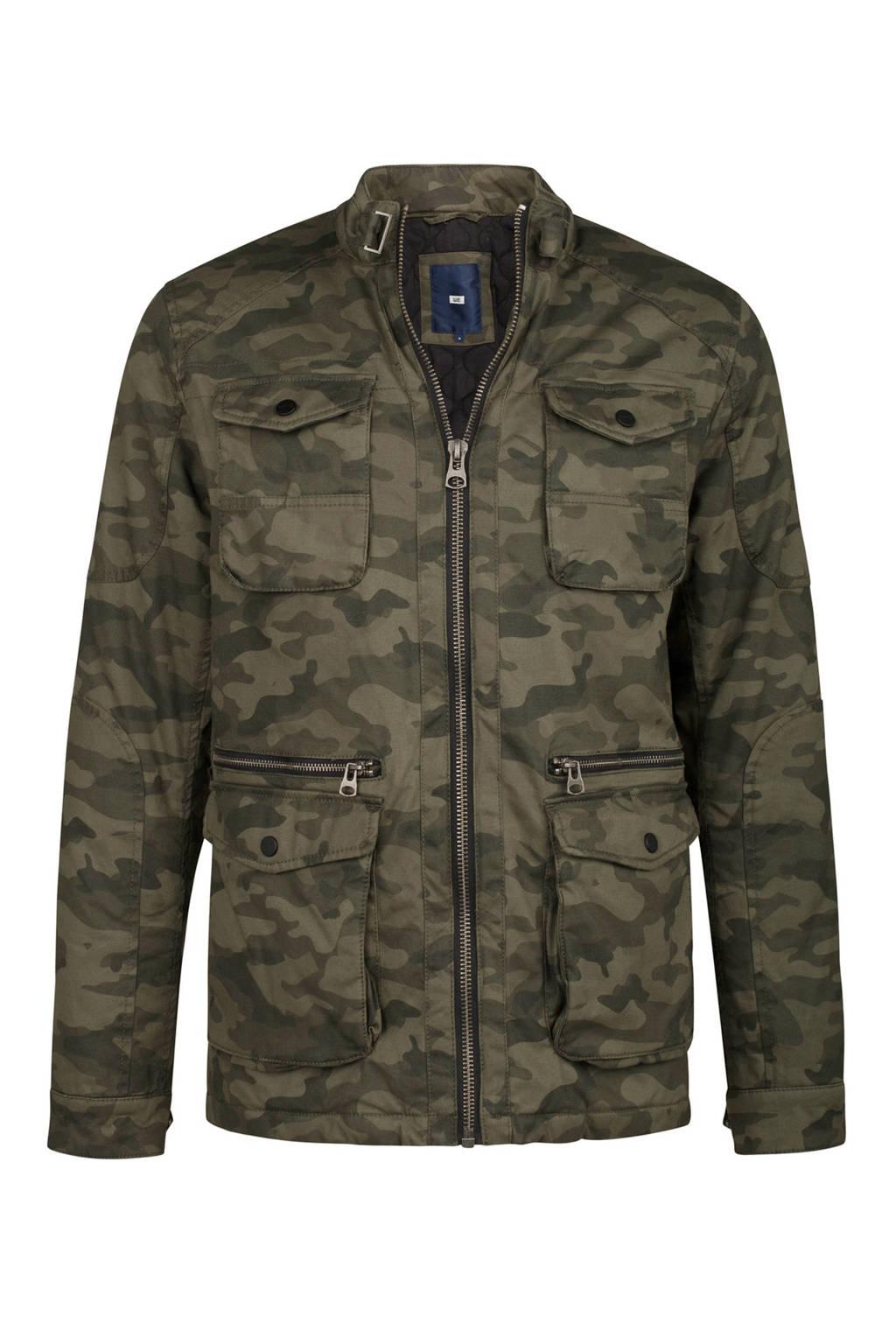 WE Fashion tussenjas met camouflage print, Dark Green