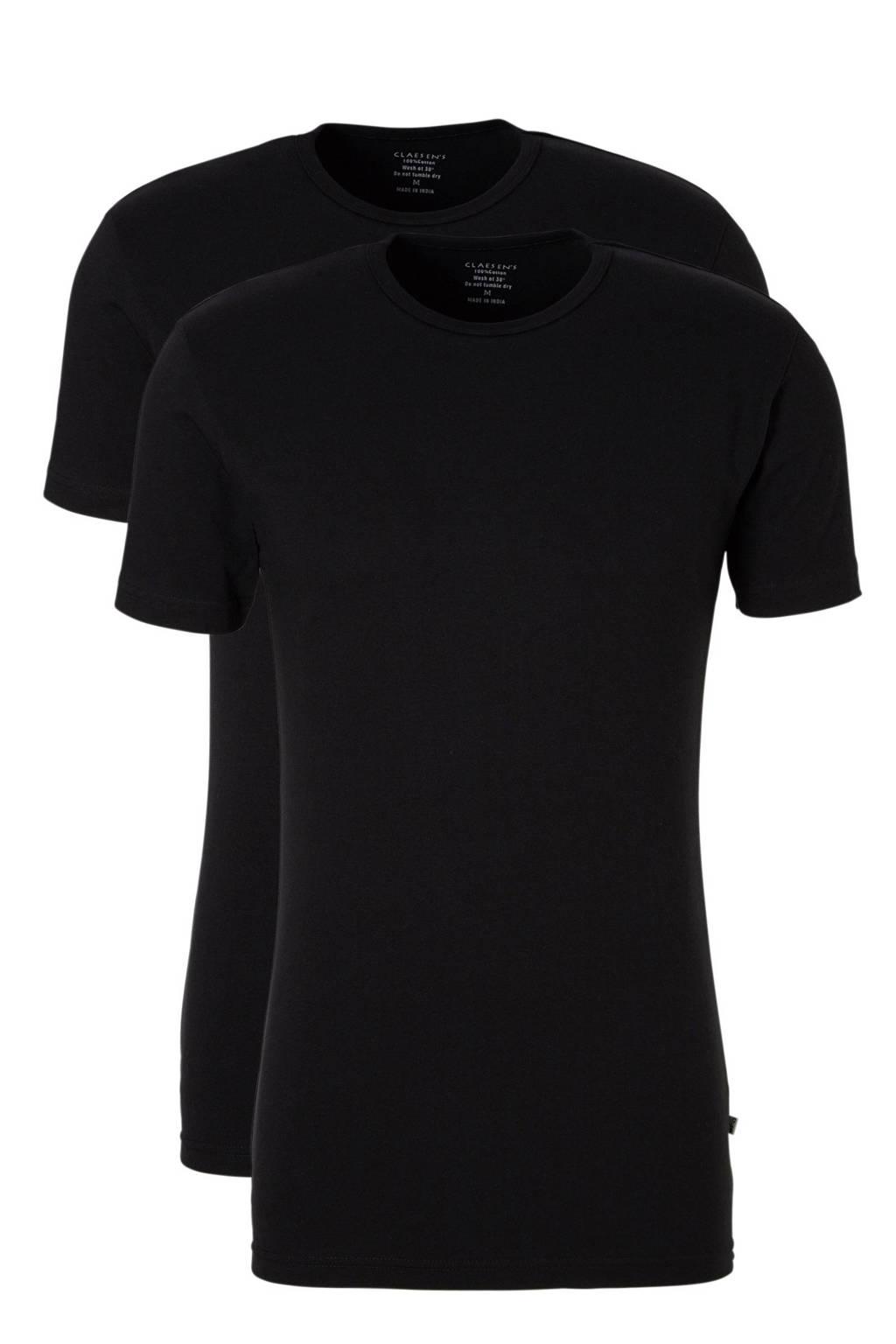 Claesen's T-shirt (set van 2), Zwart