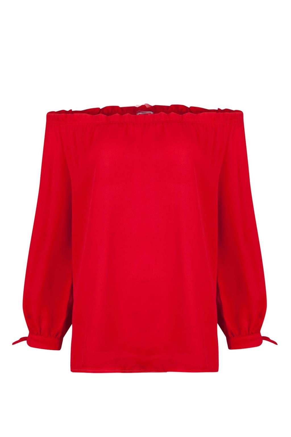 WE Fashion off shoulder top rood, Rood