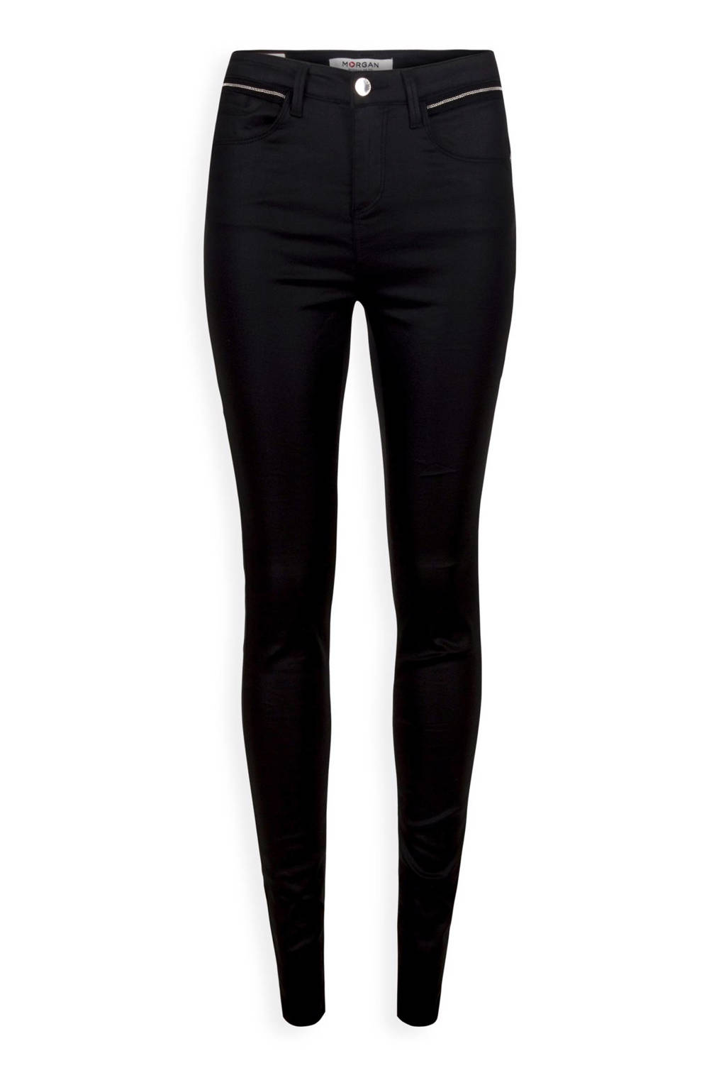 Morgan slim fit broek met sierstenen zwart, Zwart