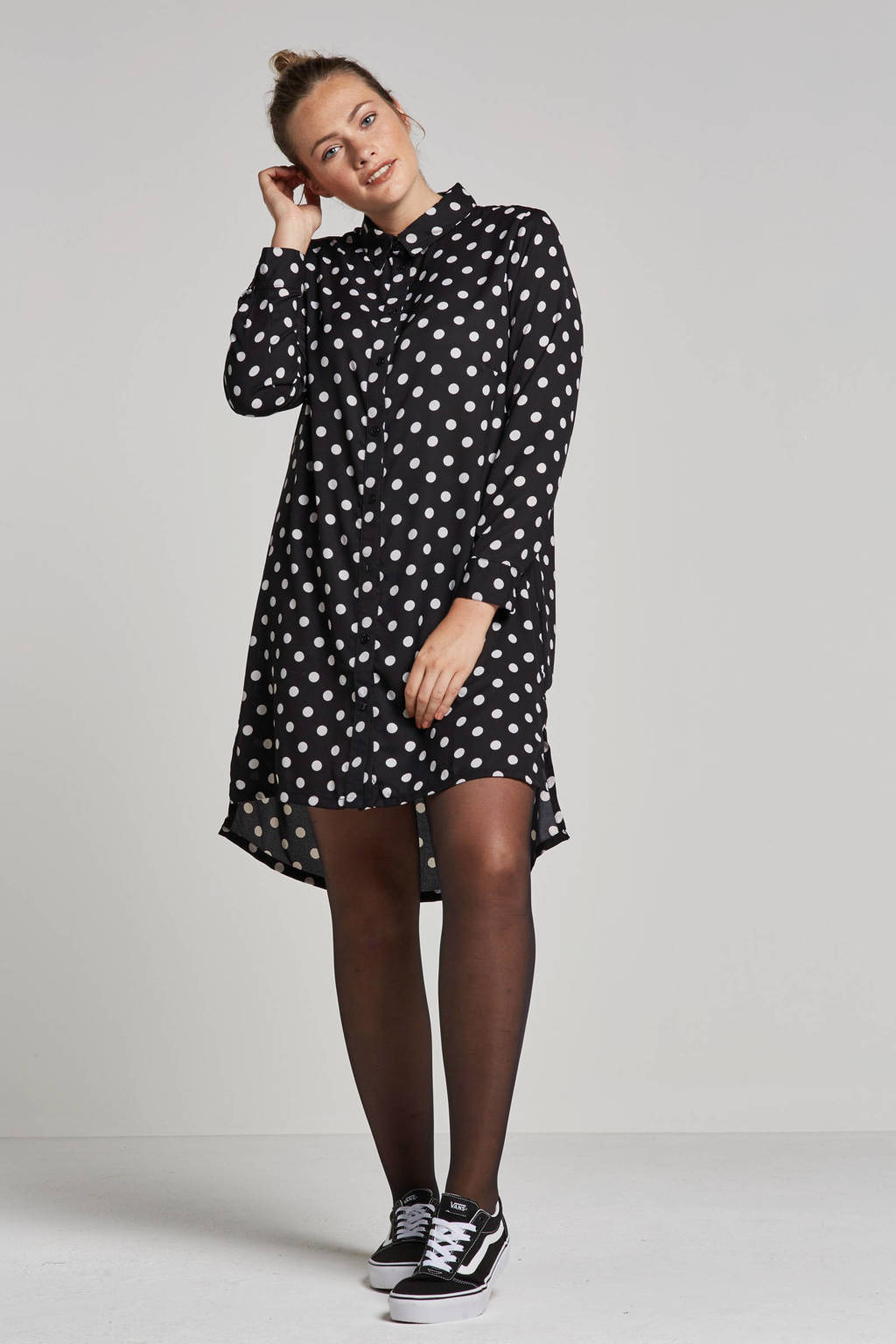 whkmp's great looks lange blouse met stippen, Zwart/wit