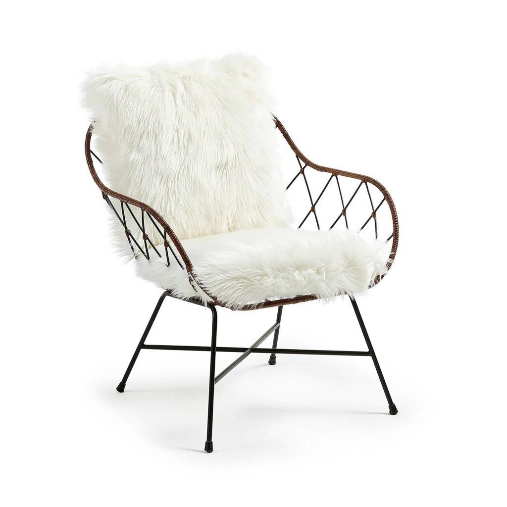 Kave Home fauteuil Claren, Bruin/wit