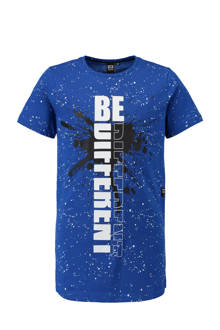 T-shirt met spetterprint blauw