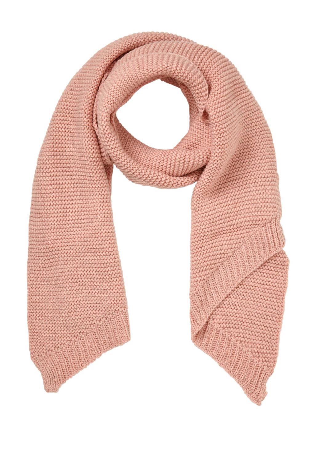 Pieces ribgebreide sjaal, Roze