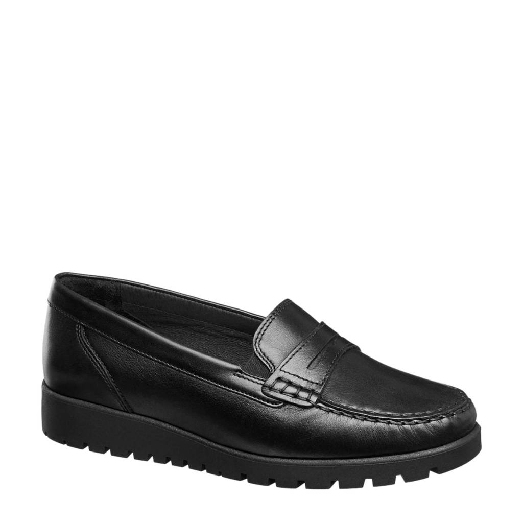 vanHaren Medicus leren loafers zwart, Zwart