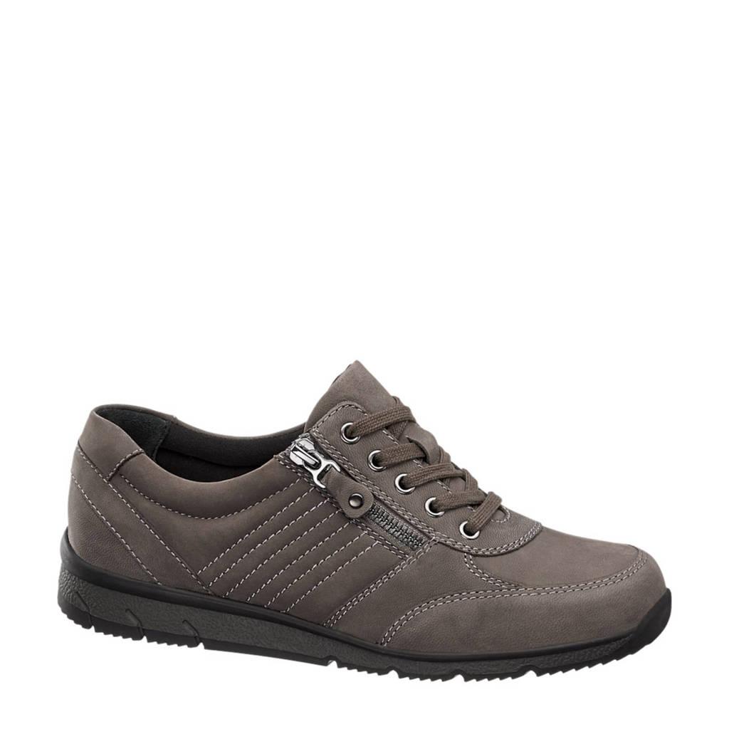 vanHaren Medicus  leren sneakers grijs, Grijs