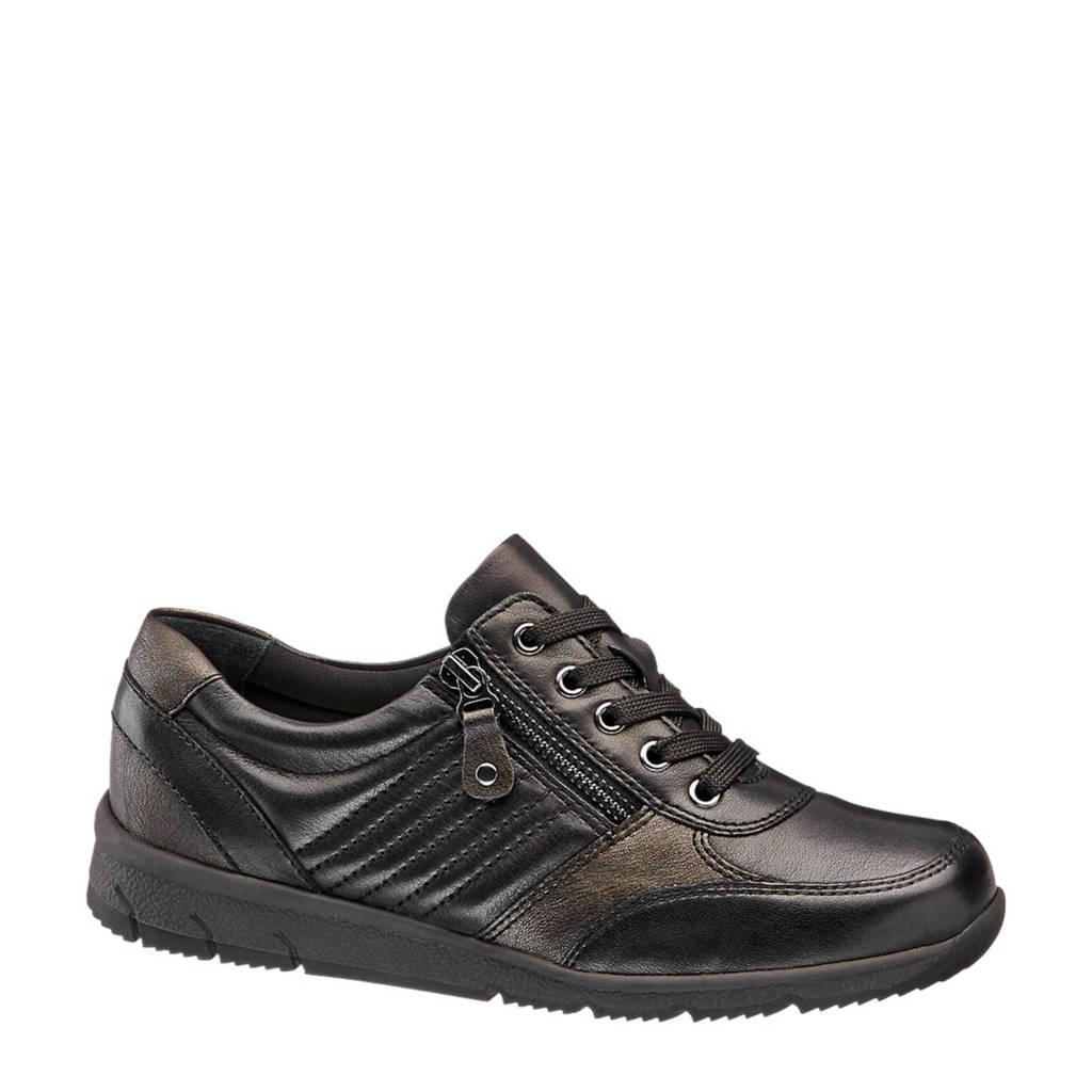 vanHaren Medicus  leren sneakers zwart, Zwart