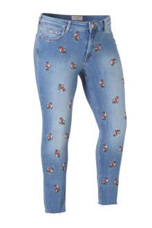 cropped slim fit jeans met bloemen
