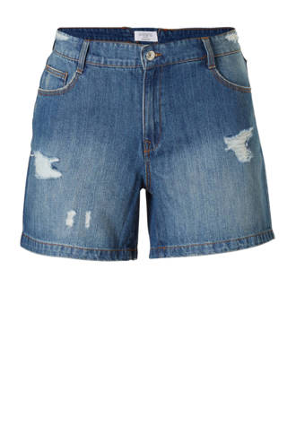 jeans short met slijtage details