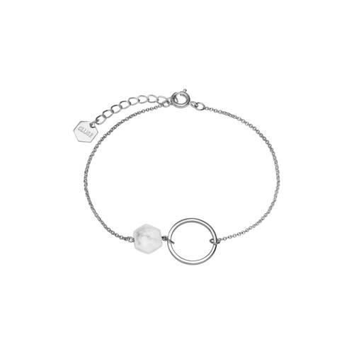 CLUSE-Armbanden-Idylle Open Circle Marble Hexagon Chain Bracelet-Zilver
