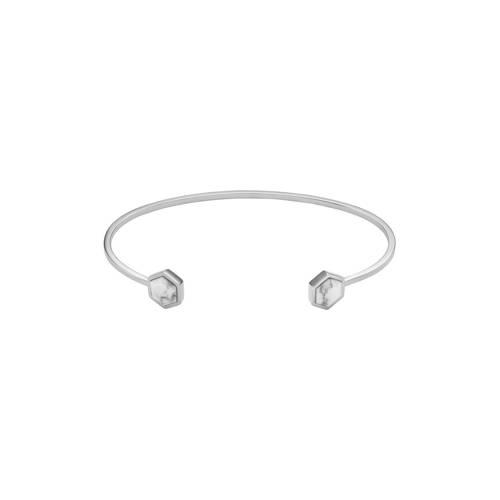 CLUSE-Armbanden-Idyll Hexagons Open Cuff Bracelet-Zilver