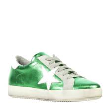 metallic leren sneakers groen
