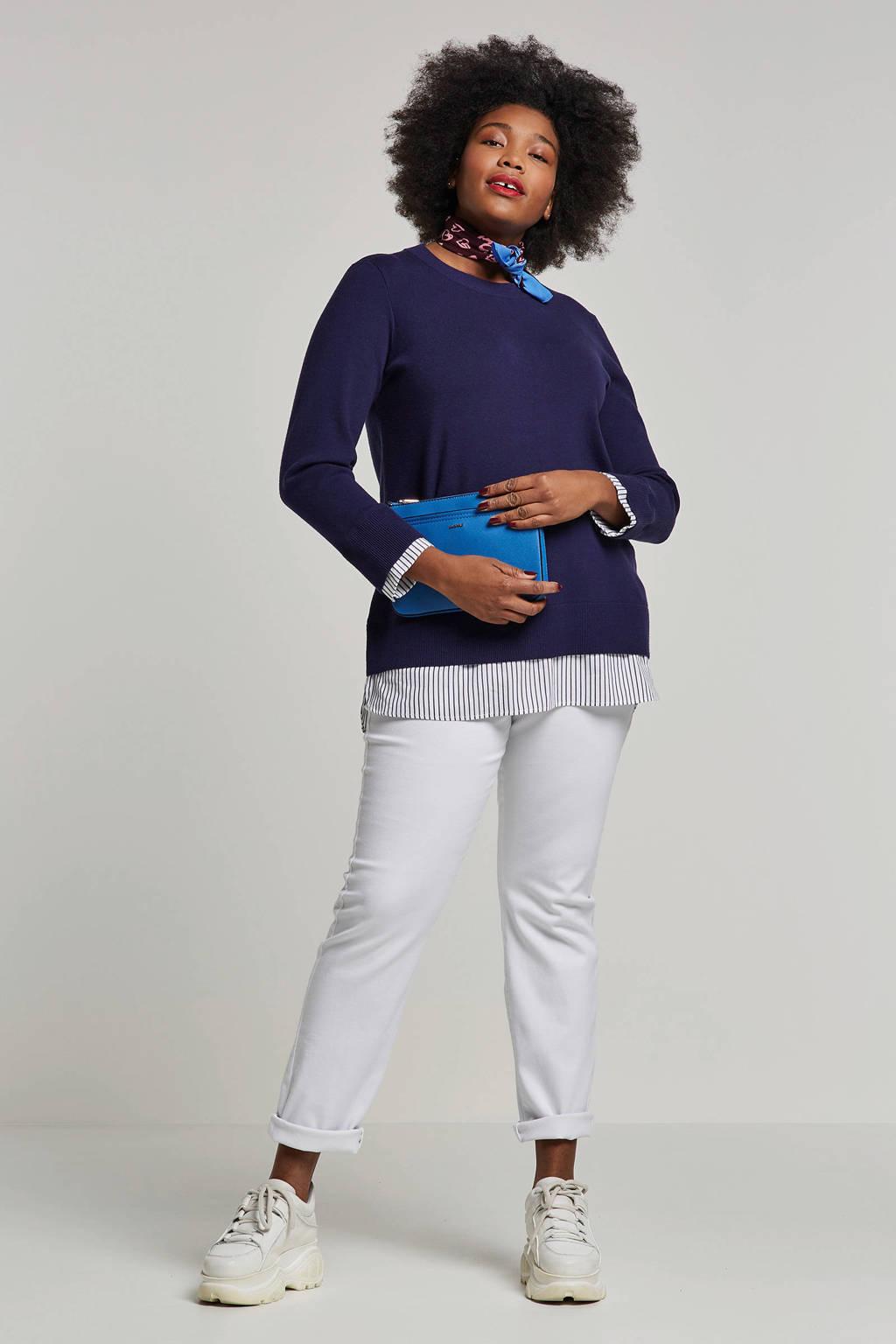 Zizzi trui met blouse inzet, Donkerblauw/wit