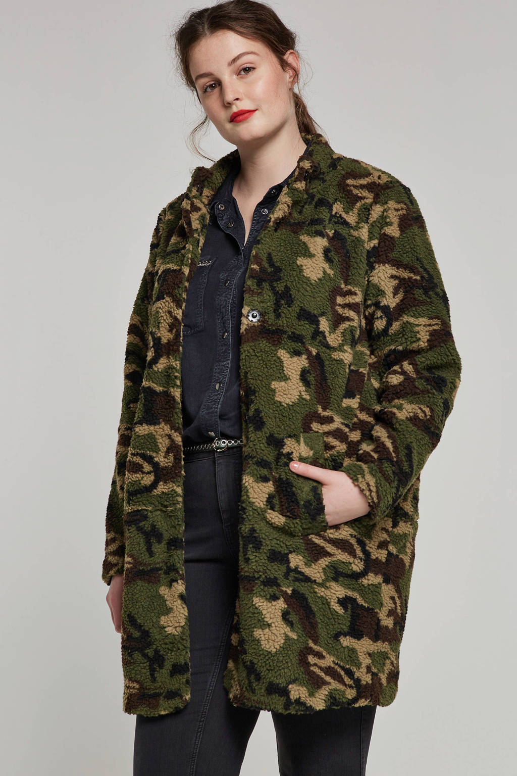 Zizzi teddy jas met camouflage print, Groen