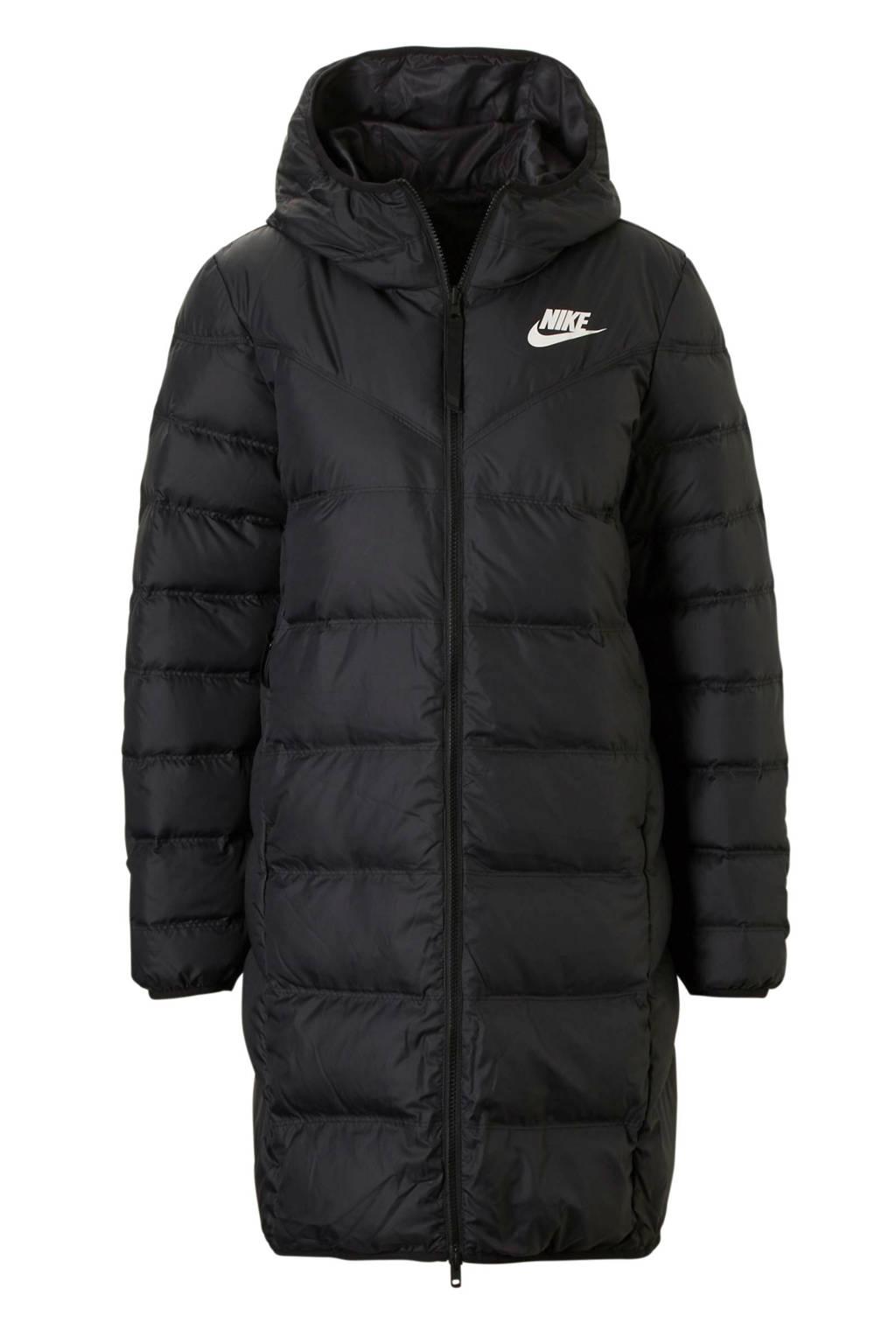 Nike omkeerbare halflange jas, Zwart/wit
