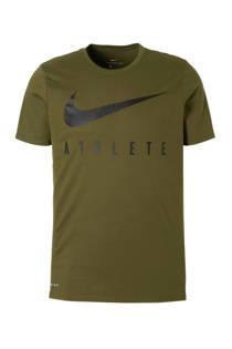 Nike   sport T-shirt kaki (heren)