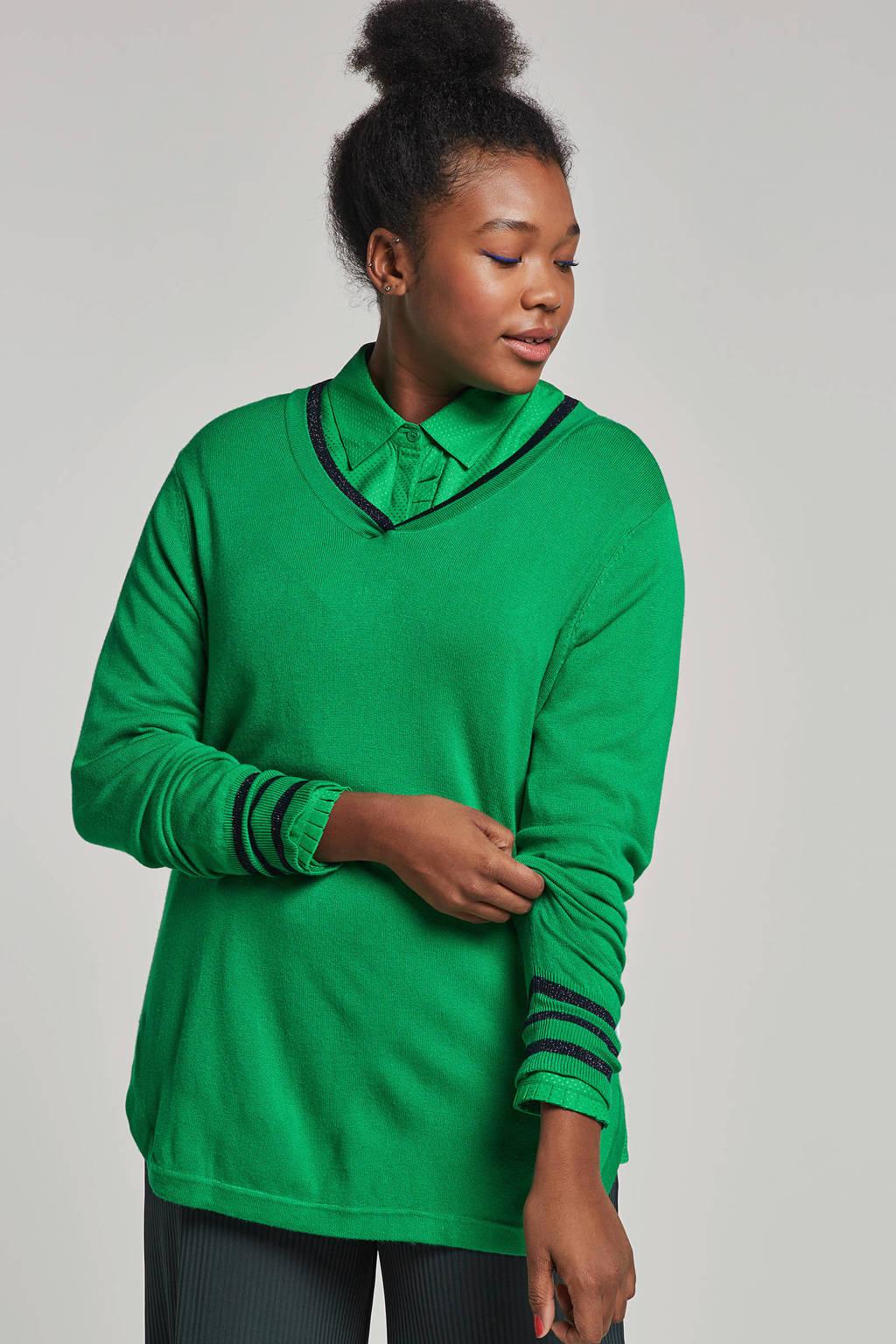 Zhenzi trui groen/donkerblauw, Groen/donkerblauw