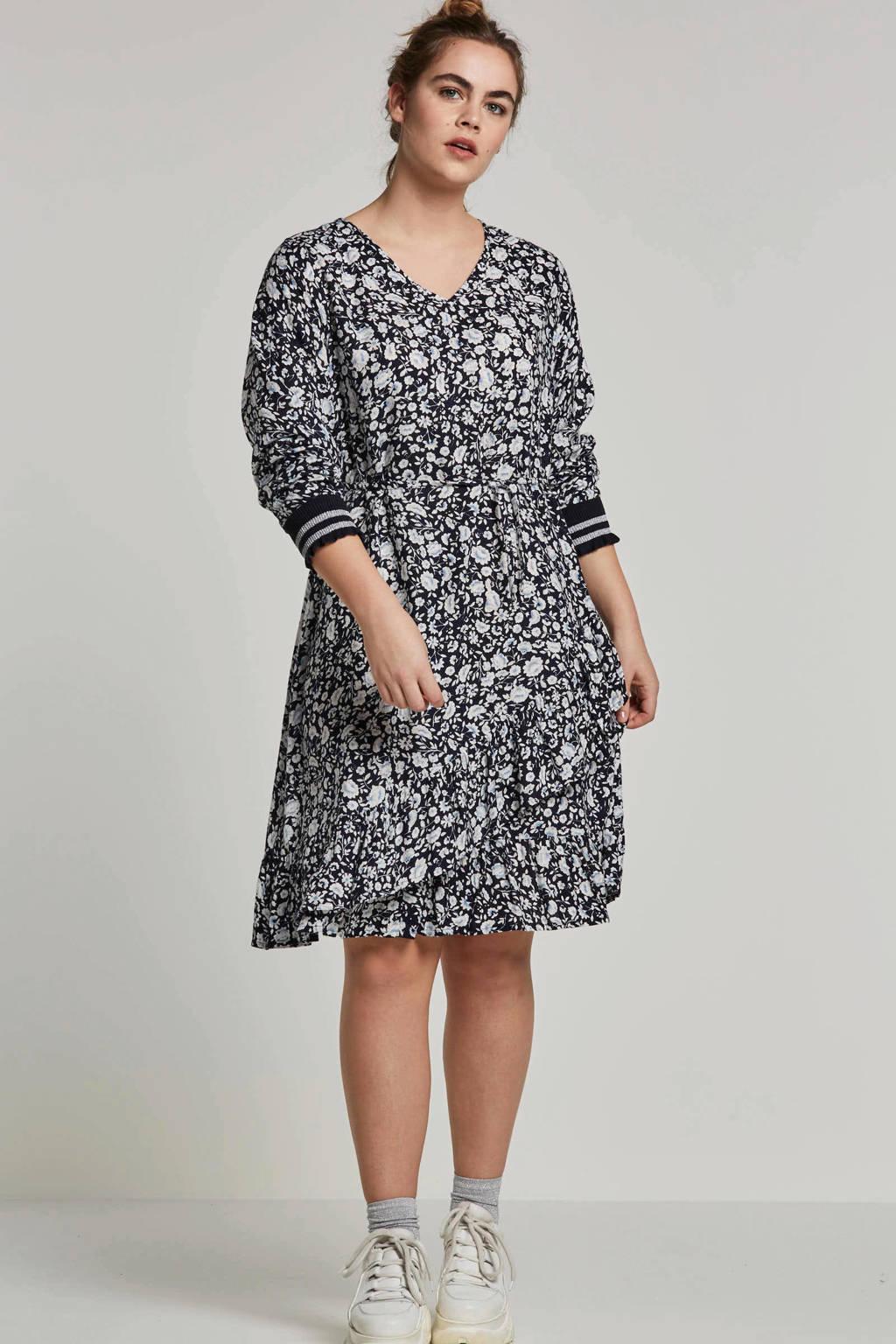 Zhenzi jurk met all-over print, Donkerblauw