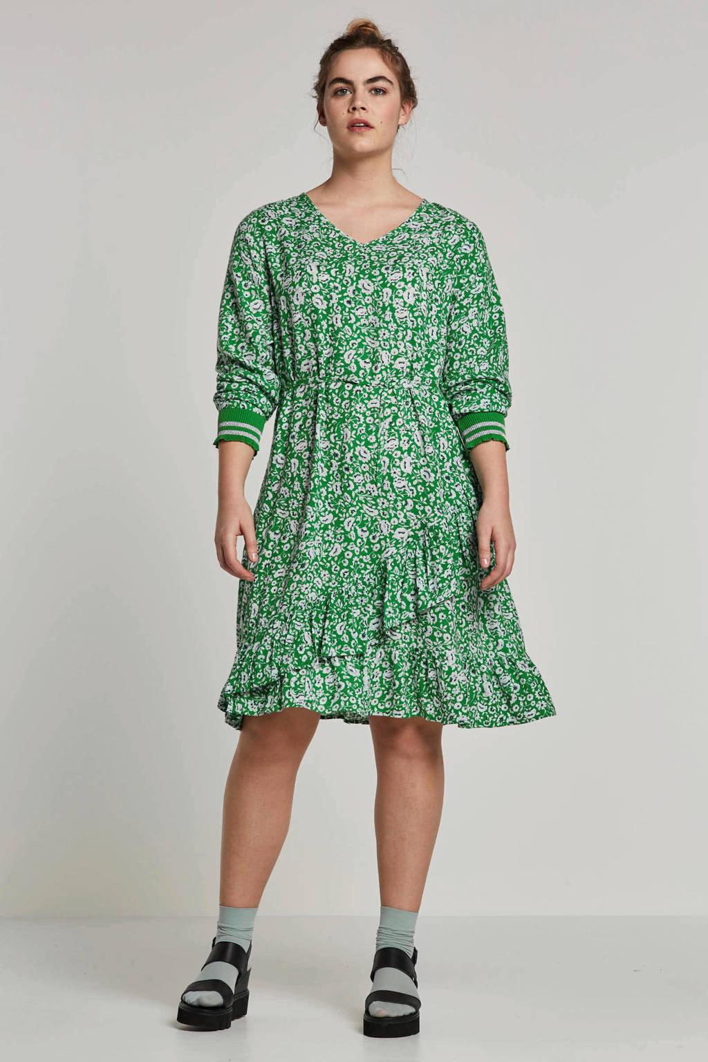 Zhenzi jurk met all-over print, Groen/wit