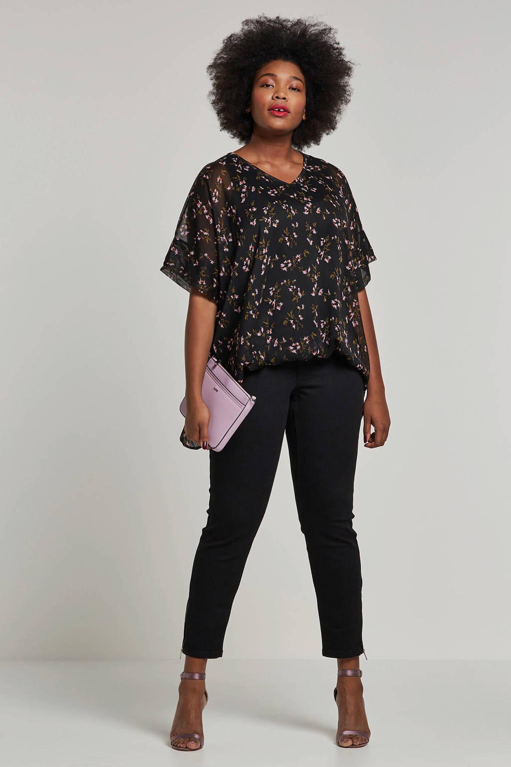 Zhenzi top met all-over print, Zwart/roze/groen
