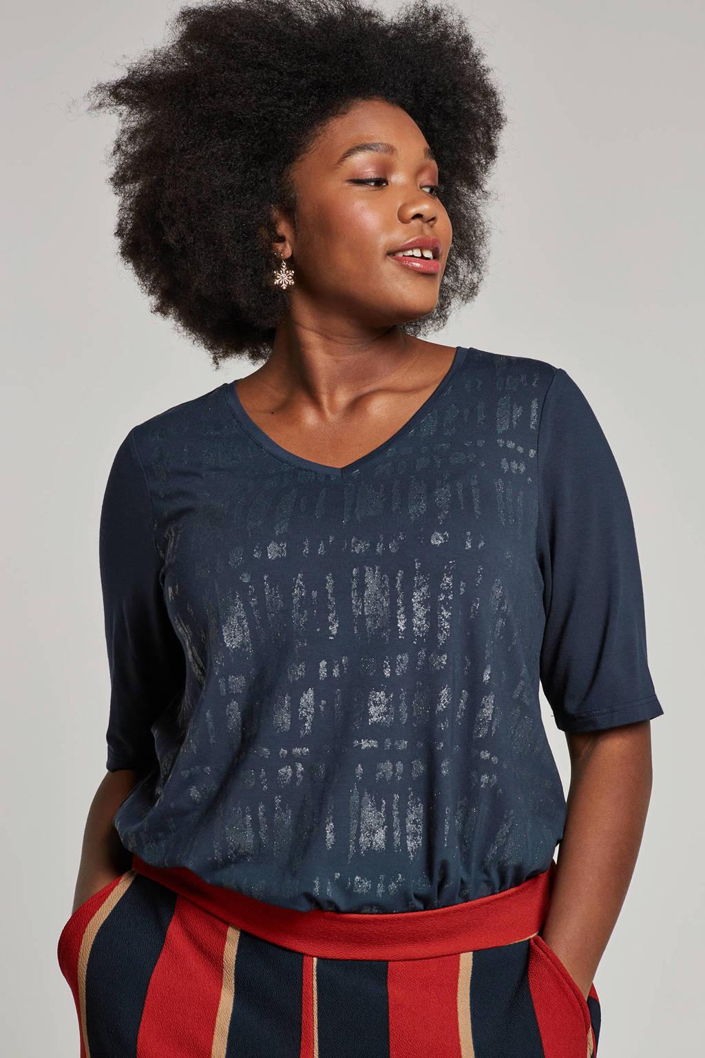 Zhenzi t-shirt met printopdruk, Donkerblauw