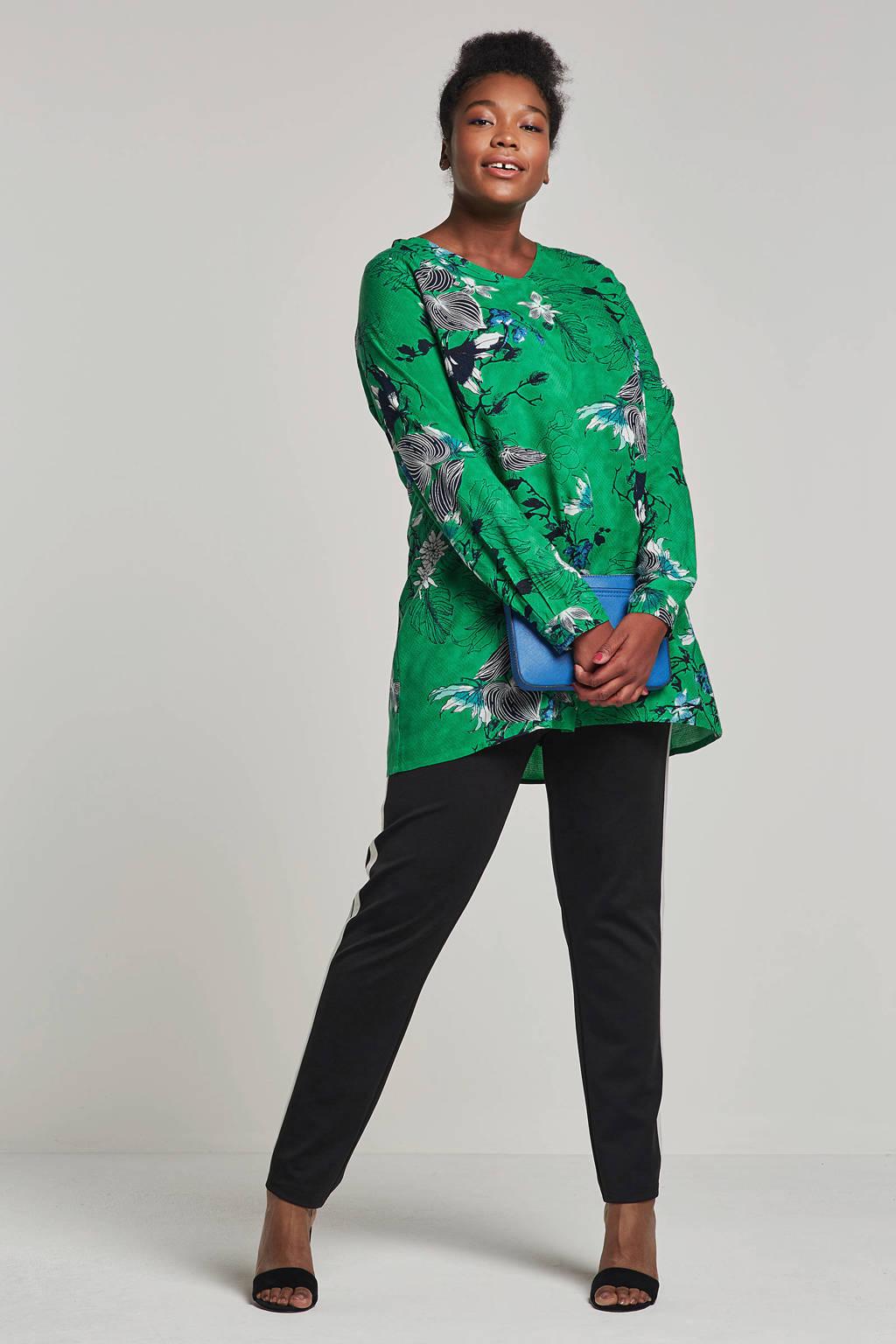Zhenzi tuniek met bloemen, Groen