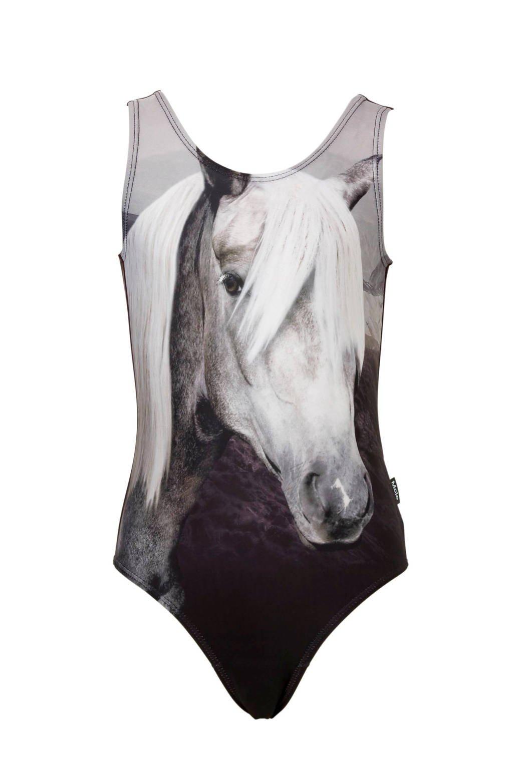 Molo badpak met paarden print zwart/wit, Zwart.wit