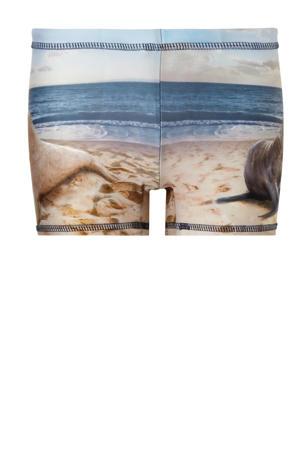 zwemboxer met all over print beige/blauw