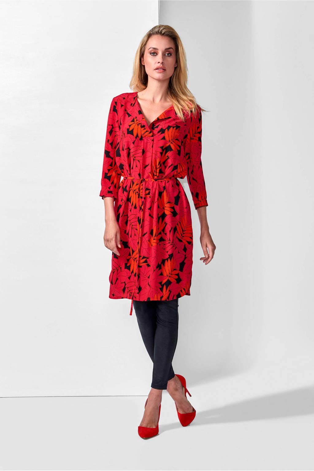 Mart Visser gebloemde jurk oranjerood, Oranjerood