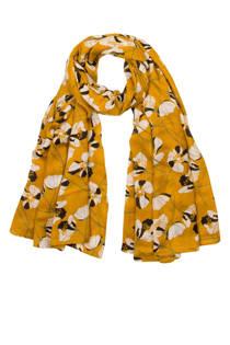 Miss Etam sjaal met bloemenprint okergeel