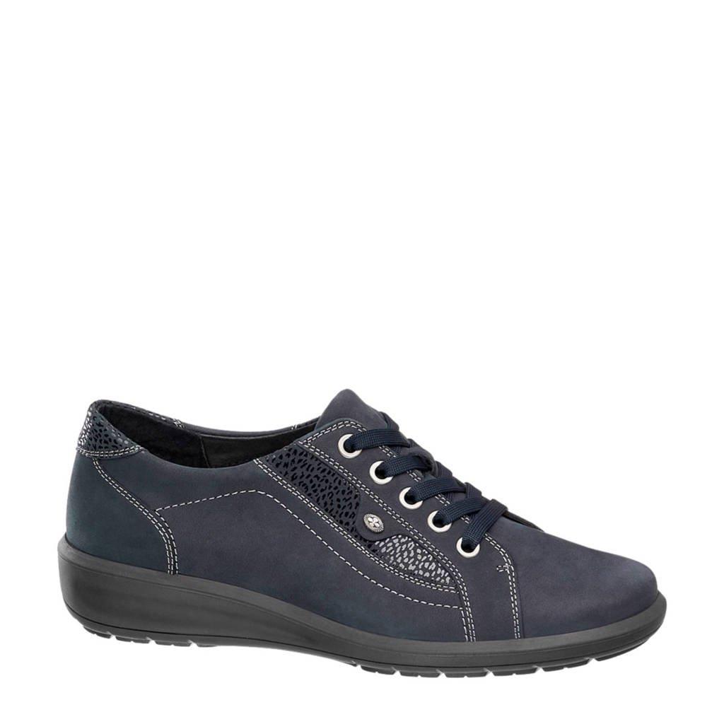 vanHaren Medicus  leren sneakers donkerblauw, Donkerblauw