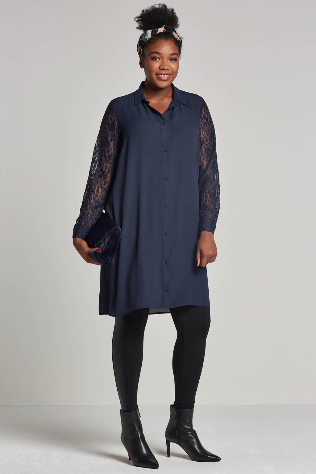 ONLY CARMAKOMA legging met zijstreep zwart, Zwart