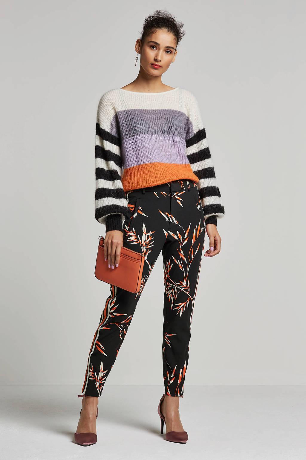 Inwear straight fit broek met bloemendessin, Zwart