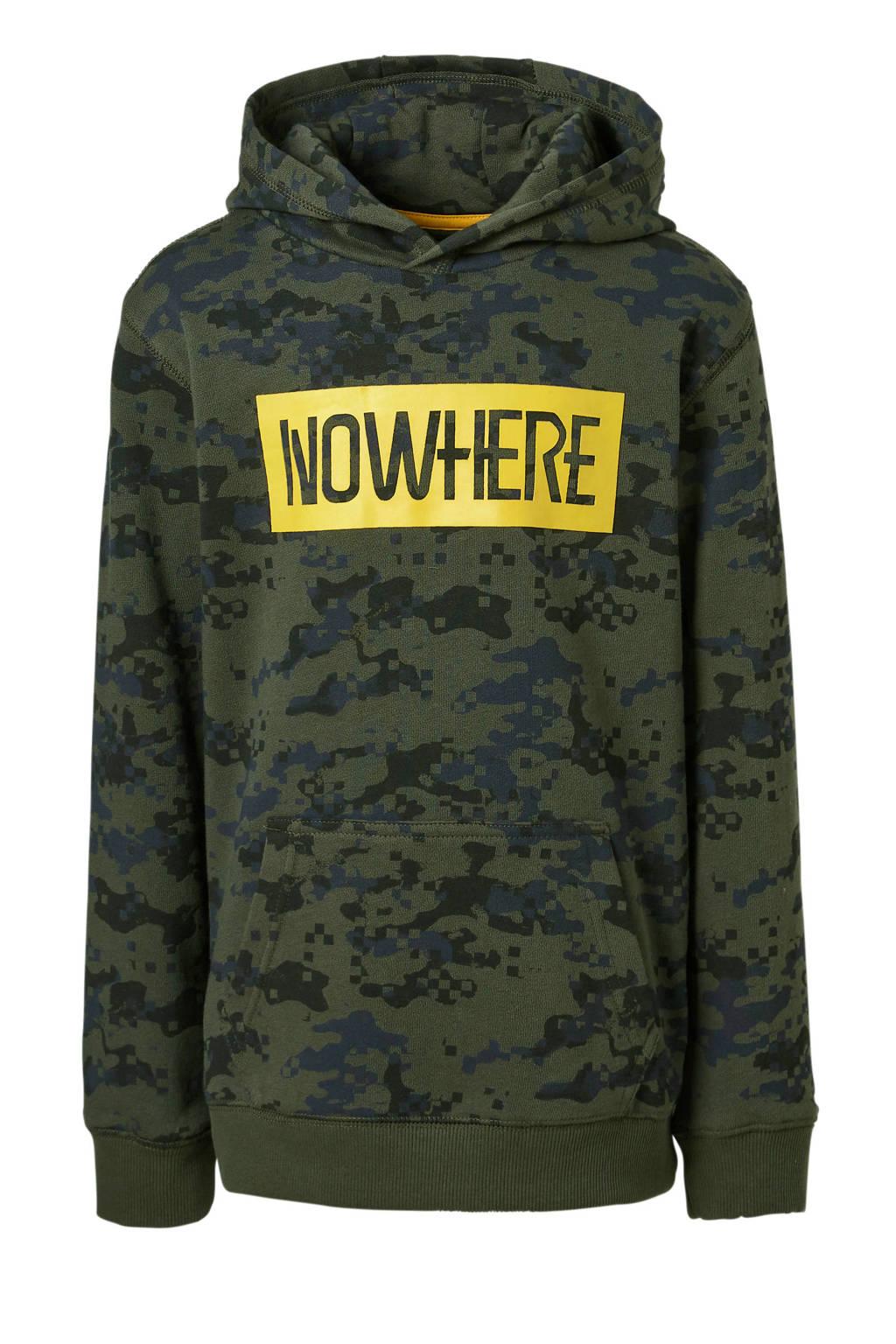Mitch hoodie Jemon met print, Donkergroen/zwart