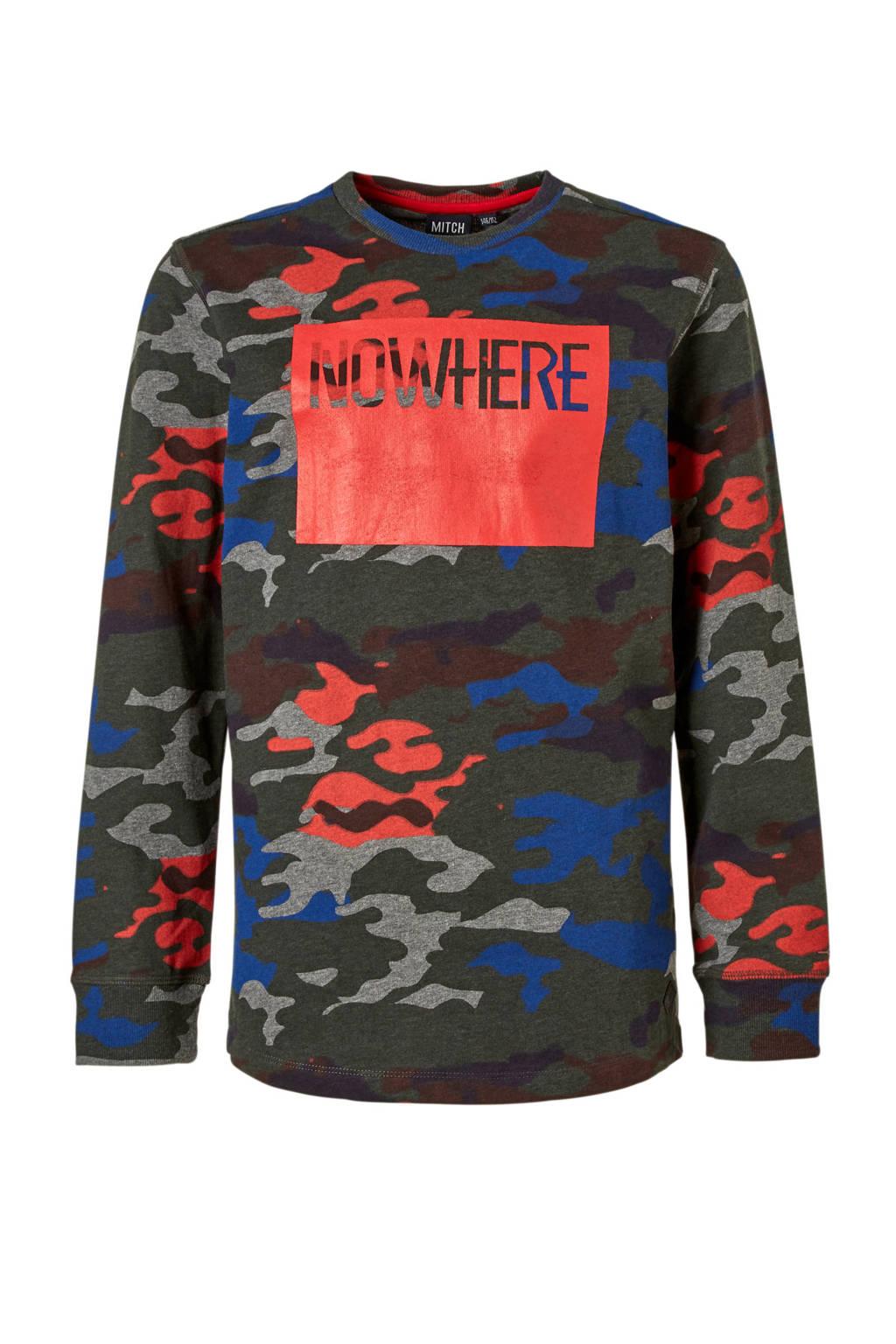 Mitch longsleeve met camouflage print, Donkergroen/rood