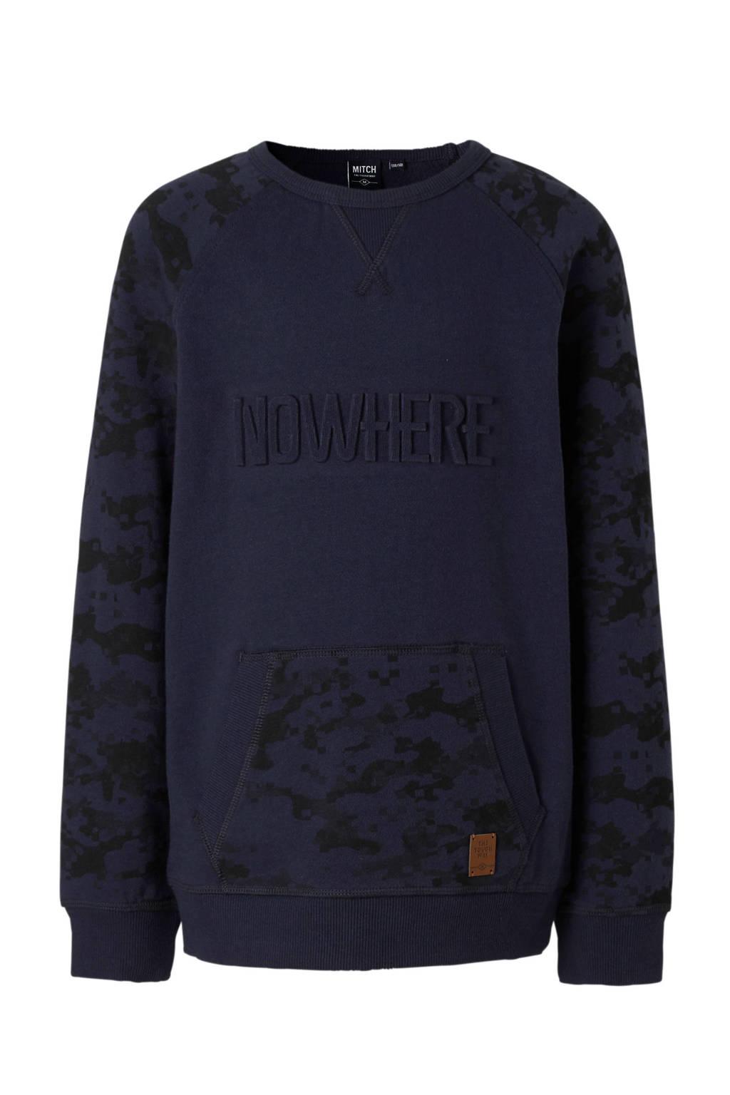 Mitch sweater met camouflage print, Marine/zwart
