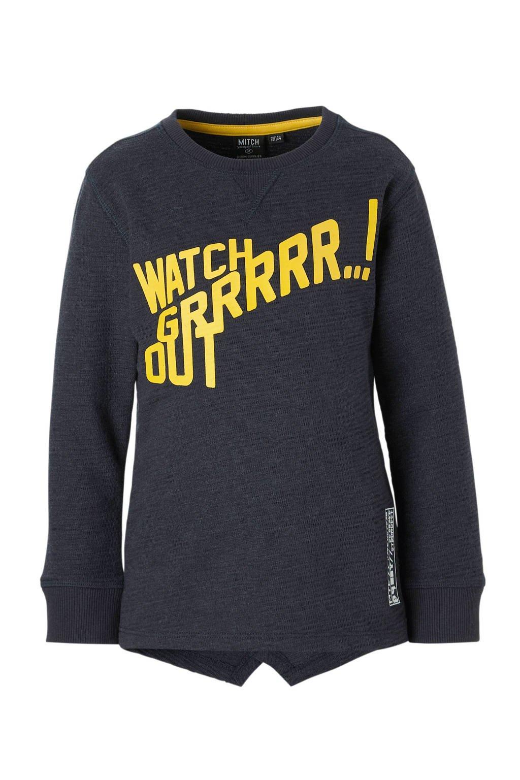 Mitch sweater Bolt met tekst marine, Marine/geel