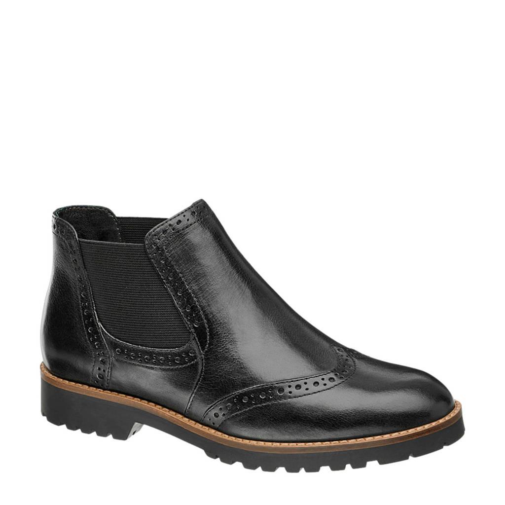 vanHaren 5th Avenue leren chelsea boots bordeauxrood, Zwart