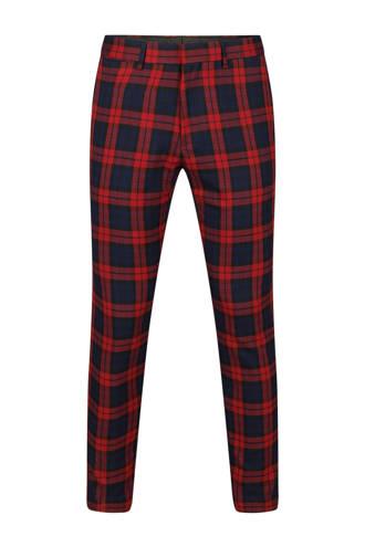 geruite skinny fit pantalon rood