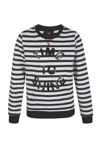 gestreepte sweater met pailletten zwart