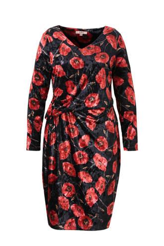 fluwelen jurk met bloemenprint
